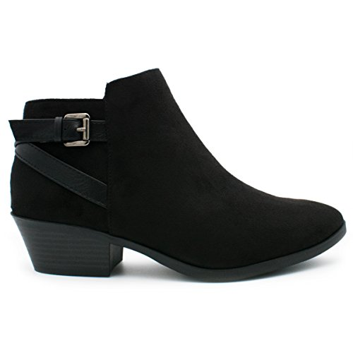 Bern Boots Black - SODA Women's Round Toe Faux Suede Stacked Heel Western Ankle Bootie Black 8