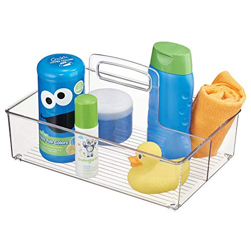 mDesign Nursery Plastic Storage Caddy Divided Bin - Utility Tote with Handle, Holds Bottles, Spoons, Bibs, Pacifiers, Diapers, Wipes, Baby Lotion - 2 Sections, BPA Free, Medium - Clear from mDesign