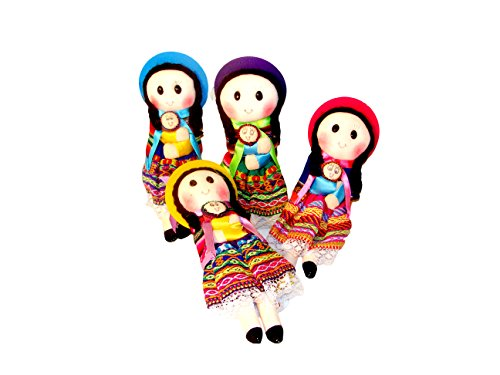Six Girls Peru Doll Hand Made Tradtional Costume Fair Trade Tot Assorted Colors Wholesale *004088*