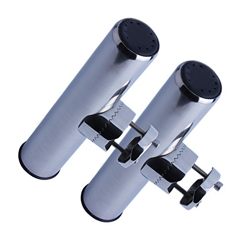 2XStainless Steel Fishing Rod Holder Clamp-on for 1