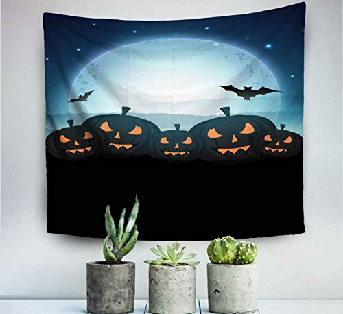 Ultehhy Wall Hanging Decor Hippie Tapestry Room Halloween Moonlight Night Background Scary Pumpkins Flying Bats Can Be Use As Banner Poster Trick Wall Art Throw Tapestries 60x50 inches(150x130cm)