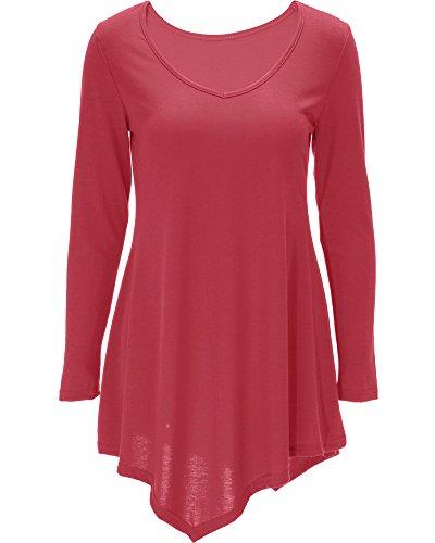 b8945b94e Mujer Vestido Corto Mangas Largas Camiseta Larga Hem Irregular Vestido  Sandía Rojo XL  Amazon.es  Ropa y accesorios