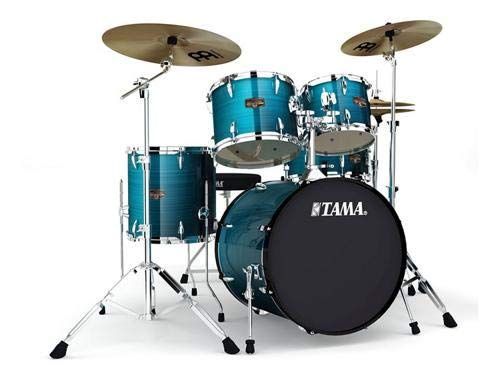 Tama Imperialstar 5-Piece Complete Drum Set with Meinl HCS Cymbals - FREE PROMO CYMBAL PACK - Hairline Blue - Cymbal Promo Pack
