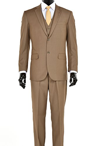King Formal Wear Elegant Men's Modern Fit Three Piece Two Button Suit - Many Colors (38 Regular, Taupe/Mustard) (3 Suit Taupe Mens Button)