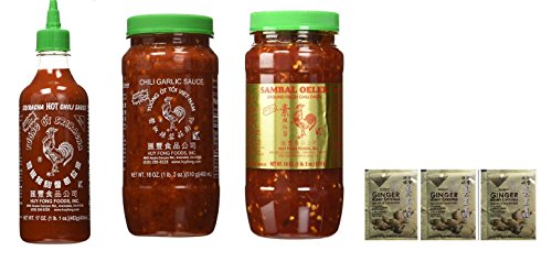 Huy Fong Sriracha 17oz + Chili Garlic Sauce 18oz+ Sambal Oelek 18oz Assorted Favorite Asian Sauces 3-Pack Exclusive Bundle Plus a Free Gift Instant Ginger Honey -