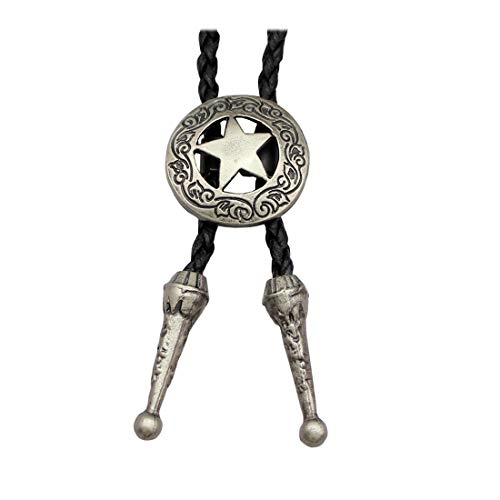 Vintage Silver Tone Q&Q Fashion Western Southwest Men Texas Ranger Star Leather Rodeo Bolo Bola Tie Necktie ()