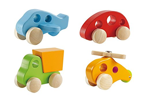 Hape Wooden Toy Cars & Trucks for Kids (4 Pieces) - Early Explorer Wooden Toy Vehicles - Little Copter, Dump Truck, Plane and Mini Van (Wood Car)