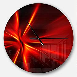 Designart Red and Yellow Rays' Oversized Modern Metal Clock, Circle Wall Decoration Art, 23x23 Inches