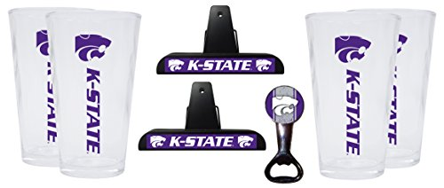 Kansas State Wildcats Kitchen Pack Set of 2 Chip Clips, 4 Pint Glasses & Magnetic Bottle Opener