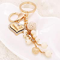 COK-AU Cute Lovely Key Chain Rhinestone Love Heart Wood Pendant Acrylic Bead Keyring Purse Hand Bag Car Charm Keychain Gift (Gold)