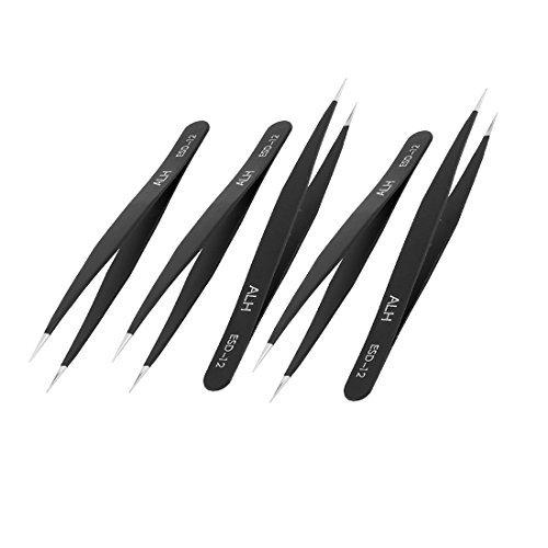 eDealMax 5PCS Negro acentuados del acero inoxidable a prueba de calor Tip pinzas rectas antiestáticas