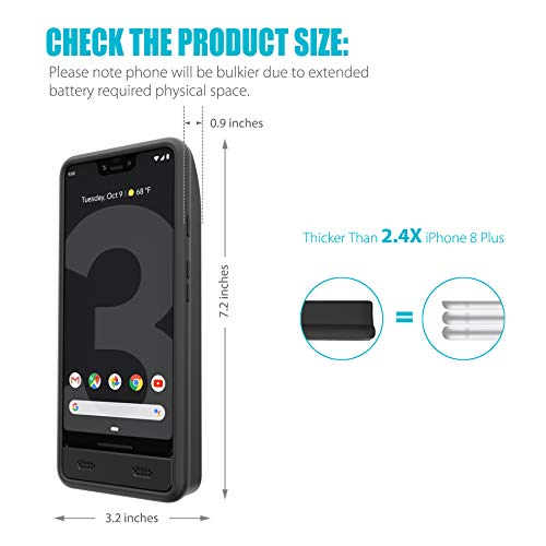 Google Pixel 3 XL Battery Charging Case, ZeroLemon Ultra Power 8500mAh Extended Rechargeable Battery with Soft TPU Case for Google Pixel 3 XL - Black by ZEROLEMON (Image #5)