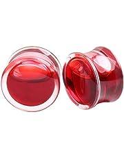 Personalidad 1 par de audífonos de acrílico Tapones Rojo sangre Líquido especial Túnel de carne de oído con junta tórica Expansor Camilla Body Piercing Conjunto de joyas for mujeres Damas Hombres Esti