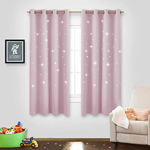 "NICETOWN Star Window Curtains for Children - Star Stamp Cut Room Darkening Drapes and Draperies for Girls Room (Lavender Pink=Baby Pink, Set of 2 Panels, 52"" x 63"")"