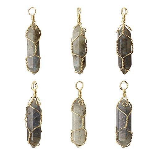 - Wholesale 6 PCS Natural Quartz Crystal Pendant Handmade Wire Wrapped Quartz Healing Chakra Reiki Charm Bulk for Jewelry Making (Labradorite)