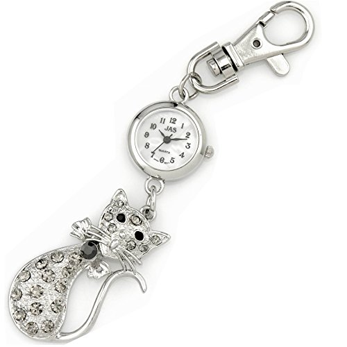 JAS Unisex Novelty Belt Fob/keychain Watch Cat Silver Tone