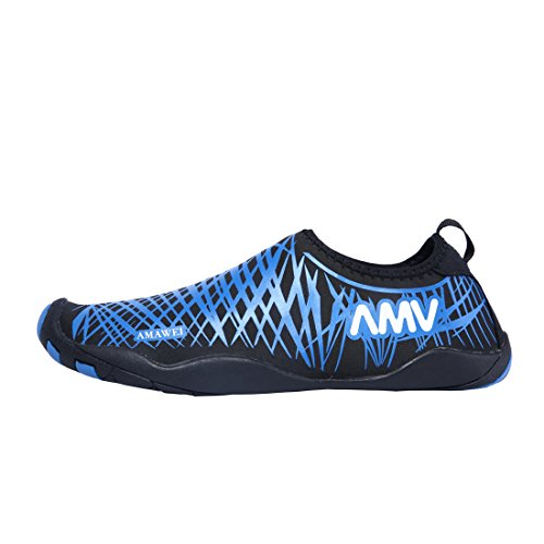 AMAWEI Beach Shoes Quick Dry Casual Sports Sneakers Slip-On Water Pool Surf Yoga Exercise For Men (Women US5, Blue) from AMAWEI