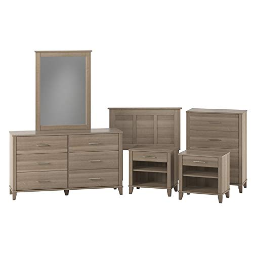 Bush Furniture Somerset Twin Size 6 Piece Bedroom Set in Ash Gray (Furniture Somerset Bedroom)