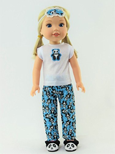 American Fashion World 14.5 INCH Doll: Panda Bear Pajamas -Fits 14 Inch Wellie Wisher Dolls | 14 Inch Doll Clothing from American Fashion World