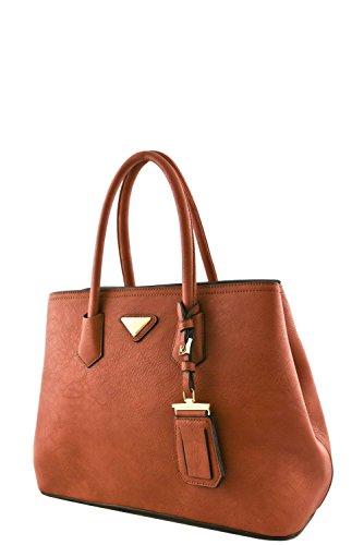 Price comparison product image Women's Designer Faux Leather Rear Zipper Pocket Top Handle Bag VA2003 Dark Pink