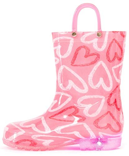 Outee Girls Rain Boots Kids Toddler Light Up Printed Waterproof Shoes Lightweight Cute Pink Hearts with Easy-On Handles and Insole (Size -