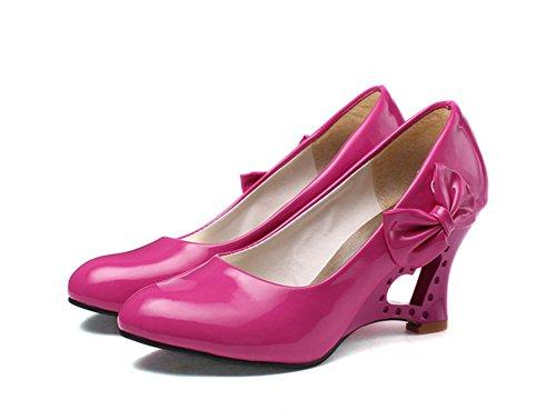 Aisun Womens Trendy Hollow Bowknot Heart Slip Op Wedge Pumps Shoes Red