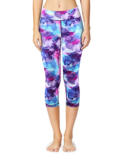 Baleaf Women's Tummy Control Workout Printed Yoga Capri Pants Hidden Pocket Ink Purple Size XL (Dyed Capri Pants)