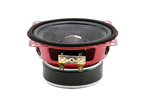 "DS18 PRO-X4M Loudspeaker - 4"", Midrange, Red Steel Basket, 200W Max, 100W RMS, 8 Ohms - Premium Quality Audio Door Speakers for Car or Truck Stereo Sound System (1 Speaker)"