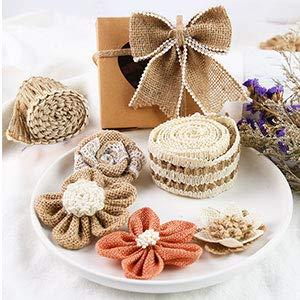 16 PCS Natural Burlap Flowers Set, Including 12 PCS Handmade Lace Burlap Flowers and Bowknots, 4 Rolls Burlap Ribbon for Christmas Birthday Party Wedding Home Embellishment DIY Crafts