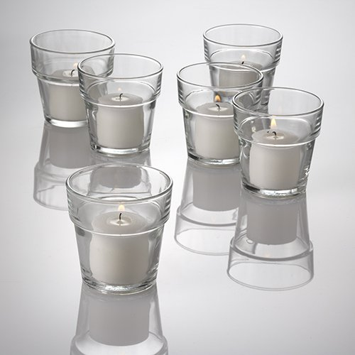 Eastland Flower Pot Votive Candle Holder Clear Set of 12 (Flower Pot Votive Candle)