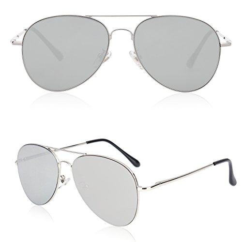 ebf11f903 SOJOS Classic Aviator Mirrored Flat Lens Sunglasses Metal Frame with Spring  Hinges SJ1030