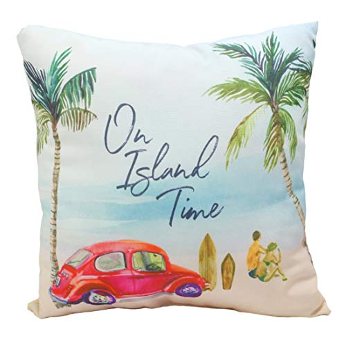 (On Island Time VW Bug Watercolor Beach Scene Print Sofa, Bed Throw Pillow Beach Home 18 x)