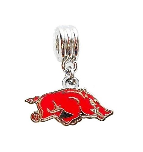 Heavens Jewelry UNIVERSITY OF ARKANSAS RAZORBACKS TEAM CHARM SLIDER PENDANT FOR YOUR NECKLACE EUROPEAN CHARM BRACELET (Fits Most Name Brands) DIY PROJECTS ETC
