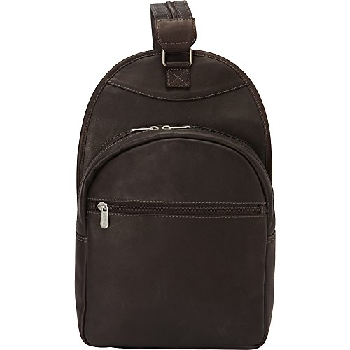 Piel Leather Slim Adventurer Sling Bag/Backpack, Chocolate