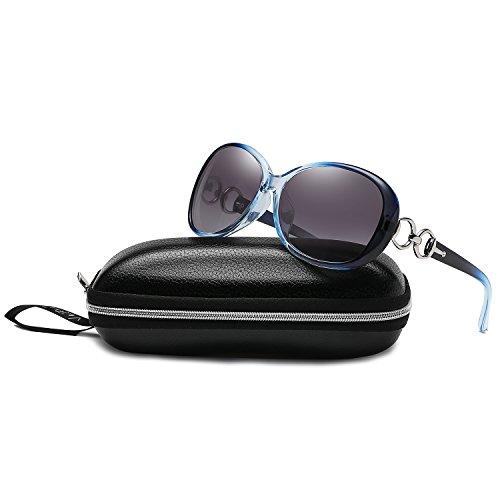VeBrellen Luxury Women Polarized Sunglasses Retro Eyewear Oversized Goggles Eyeglasses (Gradient Blue Frame Gray Lens, 60)