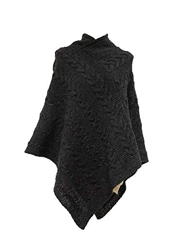 Kerry Woollen Mills Women's Aran Wool Poncho Charcoal Made in - Poncho Irish