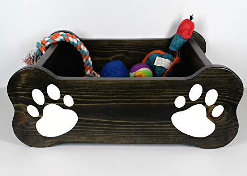 Dog toy box, pet storage bin, small dog bed, paw print paint, wood container, chew toy, rope, bone, fur baby critter, ebony stain ()