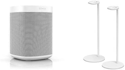 All-New Sonos One Two Room Set with Pair of Stands. The Smart Speaker for Music Lovers with Amazon Alexa Built-In for Wireless Music Streaming and Voice Control. White