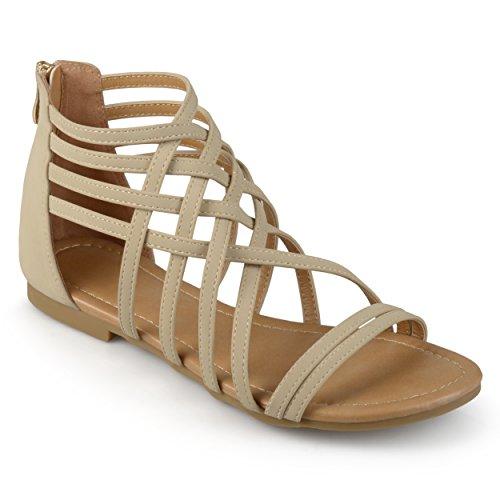 (Journee Collection Womens Flat Gladiator Sandals Nude, 10 Regular US)