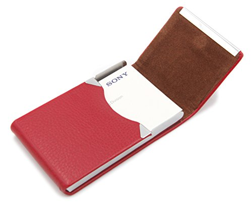 Bussiness Name Card Case/Slim Credit ID Card Holder With Magnetic Shut - Red