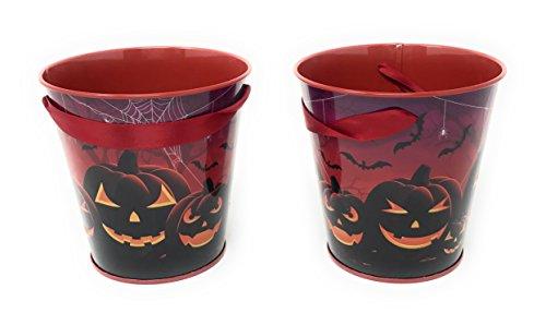 Happy Halloween Mini Metal Treat Buckets, Party Favors, Table Centerpiece, 4