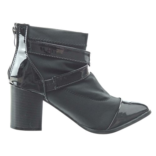 Sopily - Scarpe da Moda Stivaletti - Scarponcini bi-materiale alla caviglia donna fibbia lucide Tacco a blocco tacco alto 8 CM - Nero