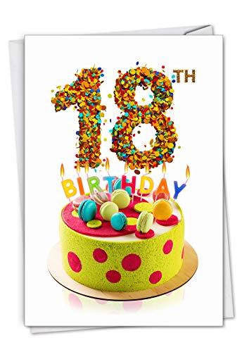- Big Day 18: Milestone Birthday Greeting Card Featuring Photographs of Fantastically Frosted and Colorful Cakes, with Envelope. C7060BMBG