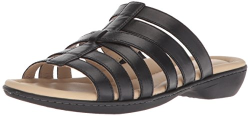 Hush Puppies Women's Dachshund Slide Sandal, Black Leather 7 N US