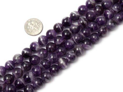 (8mm round natural amethyst gemstone beads strand 15