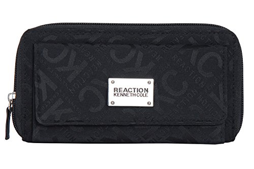 Kenneth Cole Organizer - Kenneth Cole Reaction Womens Napa Zip-Around Urban Organizer Wallet (BLACK BOX LOGO)