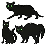 ASAB 3X Black Cat Silhouette for Garden | Cats Scarer with Marble Eyes | Harmless Bird Deterrent, Fox Repellent, Rodent Repeller | Decorative, Weatherproof, Silent, Ecological