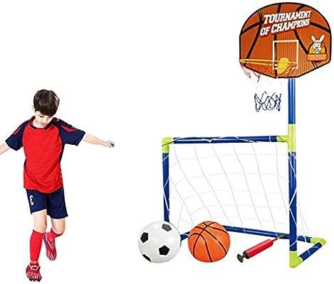 MAJOZ 2 en 1 Juego de Soporte de Baloncesto y fútbol, Juego Deportivo para niños, portería de fútbol, Cesta y Bolas Incluidas,102x72x36cm