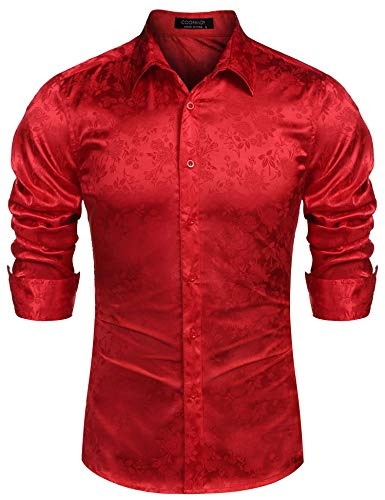 (COOFANDY Men's Long Sleeve Satin Luxury Printed Silk Dress Shirt Dance Prom Party Button Down Shirts (Large, Red))