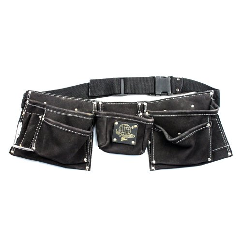 9 Pocket Tool & Nail Pouch Black Heavy Duty Leather Suede Tool Belt Fits Hammer - Heavy Duty Suede Leather